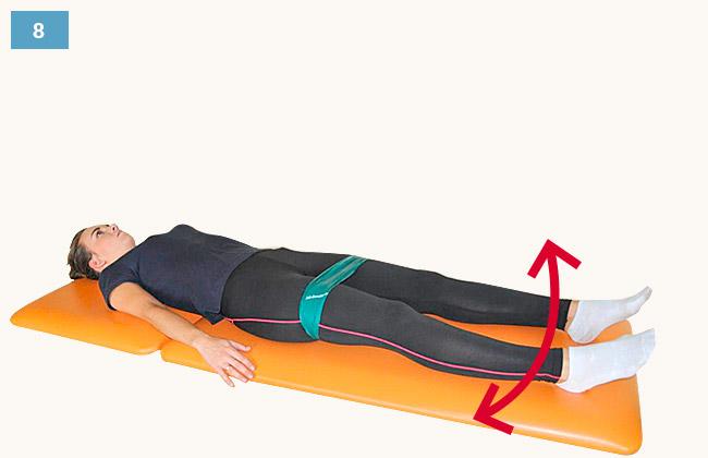 Ćwiczenie wzmacniające mięśnie odwodziciele uda w pozycji leżącej