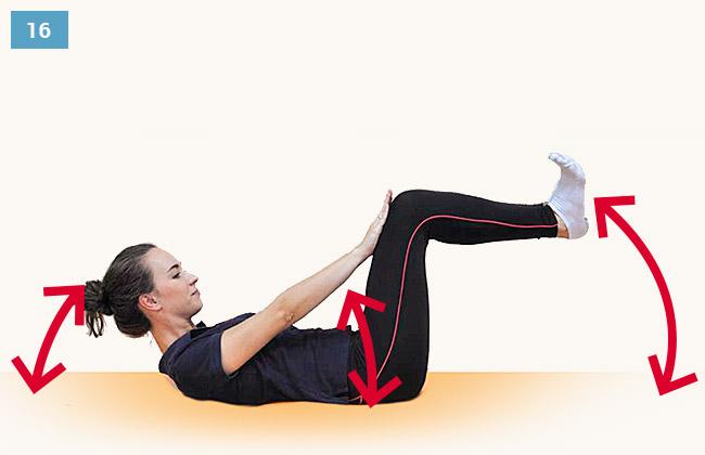 Ćwiczenie wzmacniające mięśnie brzucha uginanie kończyn dolnych, unoszenie głowy i obręczy barkowej