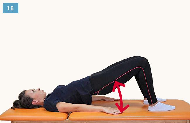 Ćwiczenie wzmacniające mięśnie pośladkowe i grupy tylnej uda w pozycji leżącej