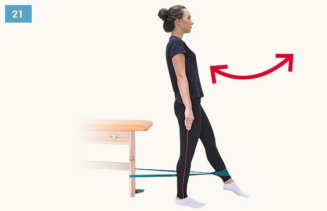 Ćwiczenie wzmacniające mięśnie grupy przedniej uda w pozycji stojącej staw kolanowy prosty